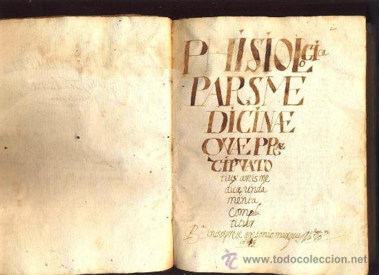MANUSCRITO MEDICINA EN PERGAMINO DEL S. XVII, ENTRE 1667 Y 1669 (Libros Antiguos, Raros y Curiosos - Ciencias, Manuales y Oficios - Medicina, Farmacia y Salud)