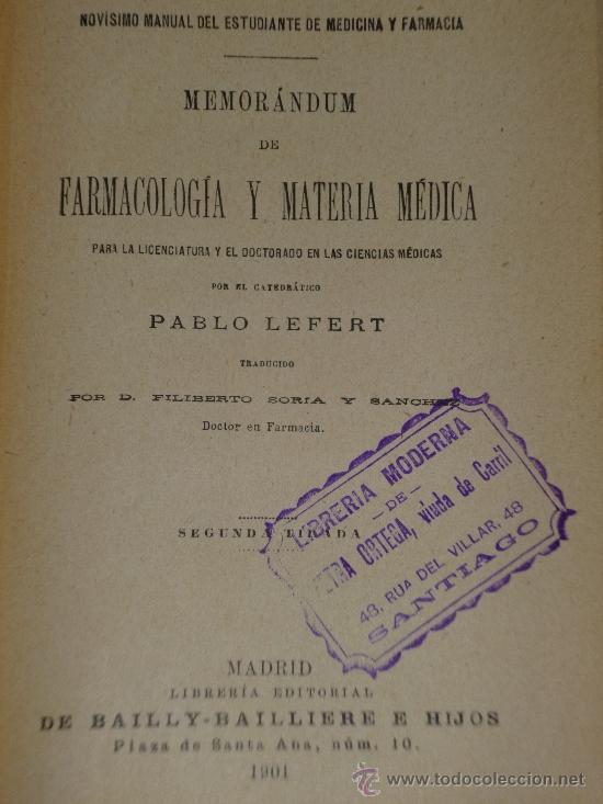 Libros antiguos: NOVÍSIMO MANUAL DEL ESTUDIANTE DE MEDICINA Y DE FARMACIA.MEMORÁNDUM DE FARMACOLOGÍA Y MATERIA MÉDICA - Foto 2 - 36425987