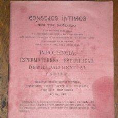 Libros antiguos: CONSEJOS INTIMOS DE UN MÉDICO. Lote 37175933