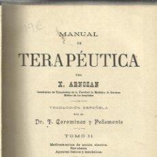 Libros antiguos: TERAPÉUTICA. Y. ARNOZAN. JOSÉ ESPASA. TOMO II. BARCELONA. MUY ANTIGUO. Lote 39384593