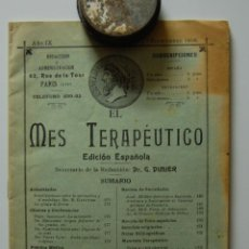 Libros antiguos: REVISTA MÉDICA FARMACIA. EL MES TERAPEUTICO. AÑO IX, Nº8, 1º SEPTIEMBRE DE 1908 // EUMICTINE. Lote 39914011