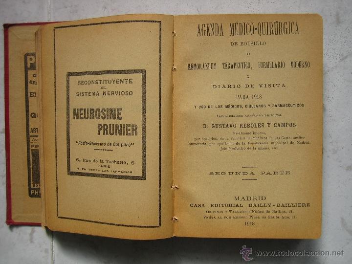 Libros antiguos: Agenda médico-quirúrgica 1918 por Bailly Bailliere. Madrid - Foto 6 - 39915821