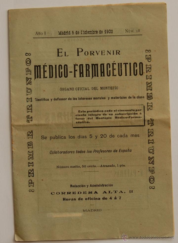 REVISTA EL PORVENIR MEDICO-FARMACEUTICO MONTEPÍO // AÑO 1902 (Libros Antiguos, Raros y Curiosos - Ciencias, Manuales y Oficios - Medicina, Farmacia y Salud)
