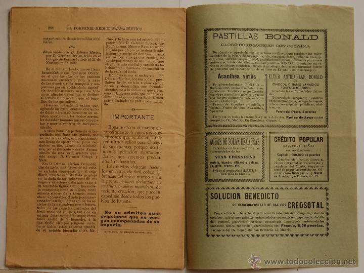 Libros antiguos: REVISTA EL PORVENIR MEDICO-FARMACEUTICO MONTEPÍO // AÑO 1902 - Foto 3 - 40472685