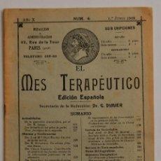 Libros antiguos: REVISTA EL MES TERAPÉUTICO JUNIO 1909 FARMACIA MEDICINA // CON PUBLICIDAD DE LA ÉPOCA. Lote 40548122