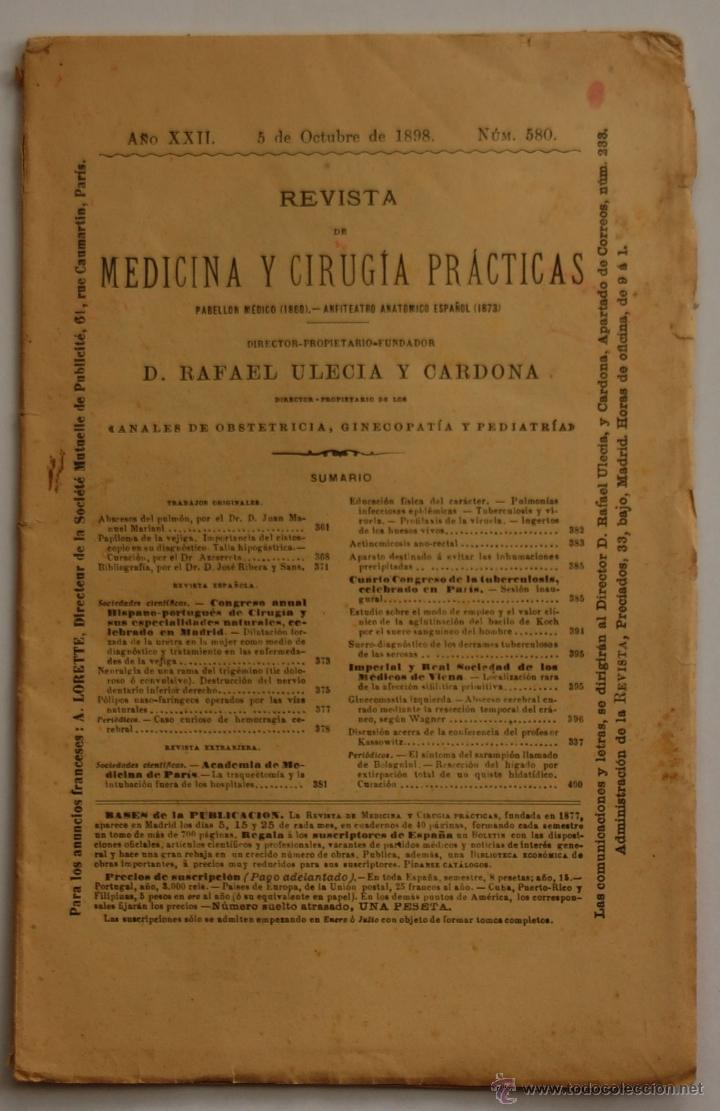 REVISTA DE MEDICINA Y CIRUGIA PRÁCTICAS POR D. RAFAEL ULECIA Y CARDONA // OCTUBRE 1898 // FARMACIA (Libros Antiguos, Raros y Curiosos - Ciencias, Manuales y Oficios - Medicina, Farmacia y Salud)