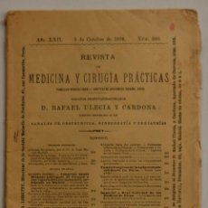 Libros antiguos: REVISTA DE MEDICINA Y CIRUGIA PRÁCTICAS POR D. RAFAEL ULECIA Y CARDONA // OCTUBRE 1898 // FARMACIA . Lote 40548171