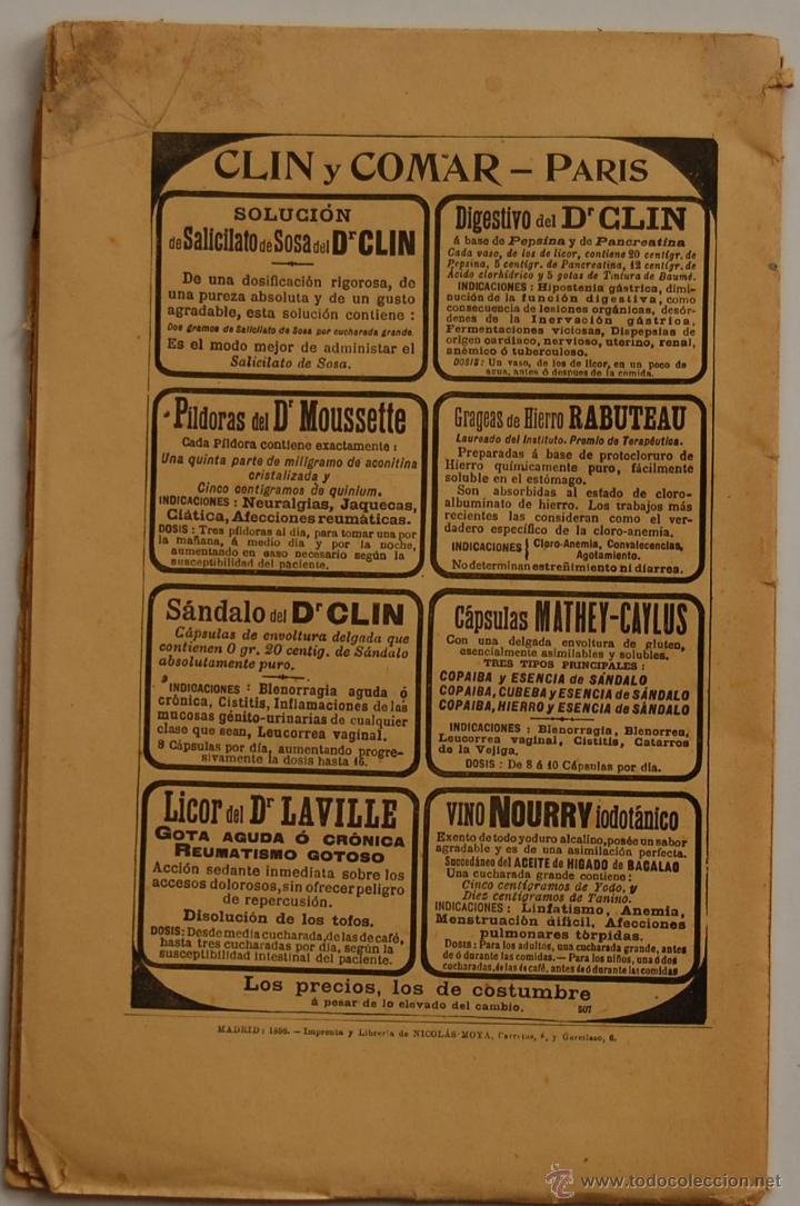 Libros antiguos: REVISTA DE MEDICINA Y CIRUGIA PRÁCTICAS POR D. RAFAEL ULECIA Y CARDONA // OCTUBRE 1898 // FARMACIA - Foto 2 - 40548171