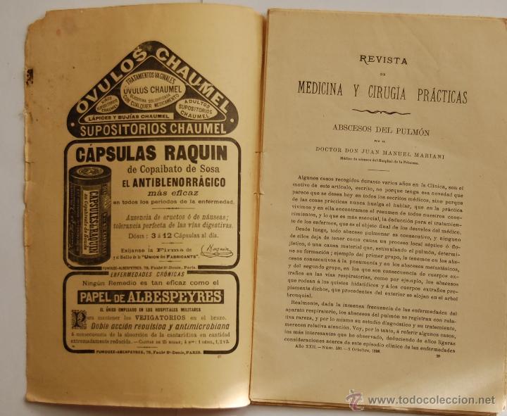Libros antiguos: REVISTA DE MEDICINA Y CIRUGIA PRÁCTICAS POR D. RAFAEL ULECIA Y CARDONA // OCTUBRE 1898 // FARMACIA - Foto 3 - 40548171