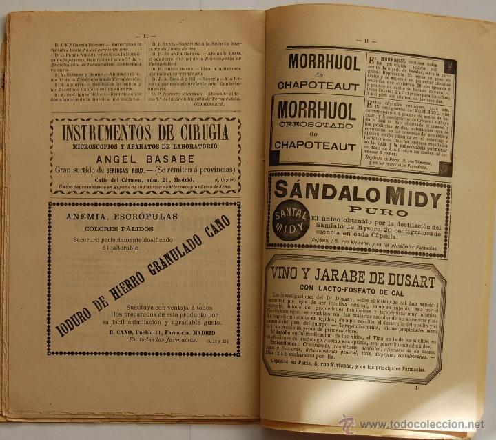 Libros antiguos: REVISTA DE MEDICINA Y CIRUGIA PRÁCTICAS POR D. RAFAEL ULECIA Y CARDONA // OCTUBRE 1898 // FARMACIA - Foto 4 - 40548171