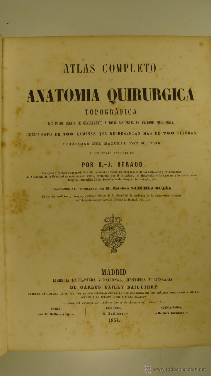 antiguo libro atlas completo de anatomia quirur - Comprar Libros ...