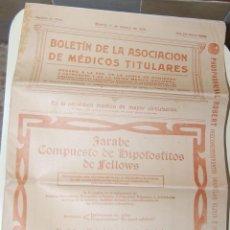 Libros antiguos: REVISTA BOLETÍN PERIODICO ASOCIACIÓN MÉDICOS TÍTULARES // FARMACIA MEDICINA AÑO 1915. Lote 41534878