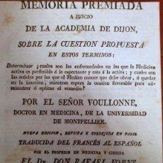 Libros antiguos: MEMORIA PREMIADA A JUICIO DE LA ACADEMIA DE DIJON. 1831. Lote 42263188