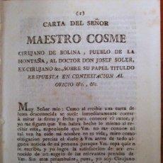 Libros antiguos: CARTA DEL MAESTRO COSME AL DOCTOR JOSEF SOLER. 1813. Lote 42339592