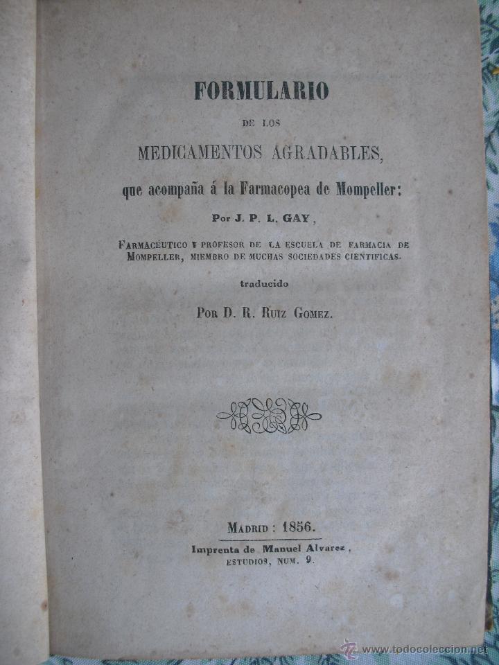 FORMULARIO DE LOS MEDICAMENTOS AGRADABLES. J.P.L. GAY (Libros Antiguos, Raros y Curiosos - Ciencias, Manuales y Oficios - Medicina, Farmacia y Salud)