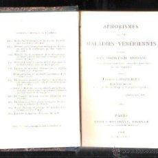Libros antiguos: APHORISMES SUR LES MALADIES VENERIENNES POR EDMOND LANGLEBERT. PARIS, 1868. ADRIEN DELAHAYE EDITOR. Lote 43393818