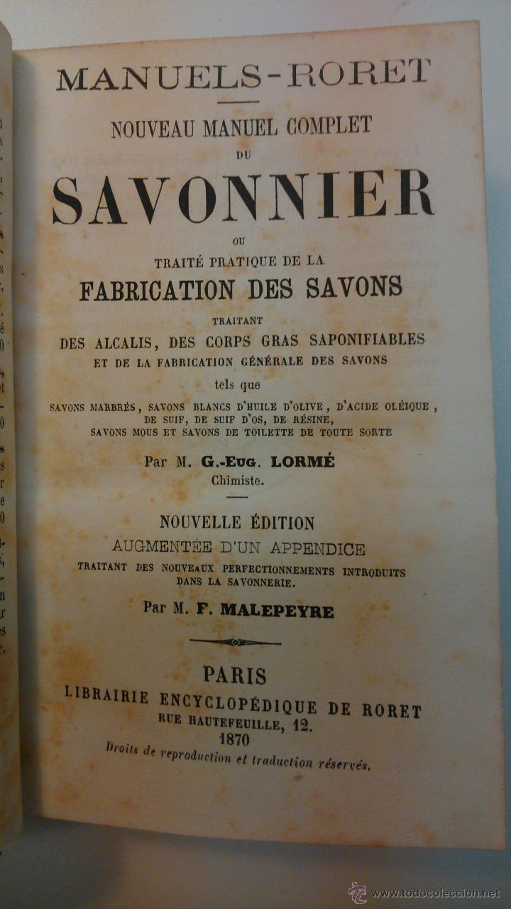Libros antiguos: Noveau manuel complet du savonnier - Foto 2 - 43895658