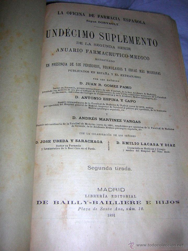 Libros antiguos: LA OFICINA DE FARMACIA ESPAÑOLA, SEGUN DORVAULT, 1891/1895 -11 AL 15 SUPLEMENTOS - Foto 2 - 43978596