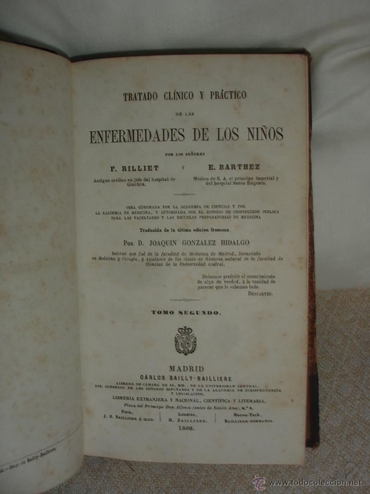Libros antiguos: Tratado clínico y práctico de las enfermedades de los niños 1886 - Foto 2 - 44072302