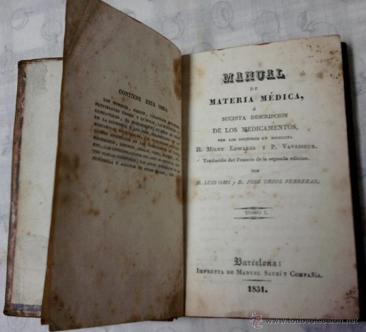 FARMACIA Y MEDICINA-ANTIGUO LIBRO-MANUAL DE MATERIA MEDICA-AÑO 1831,DESCRIPCION MEDICAMENTOS (Libros Antiguos, Raros y Curiosos - Ciencias, Manuales y Oficios - Medicina, Farmacia y Salud)