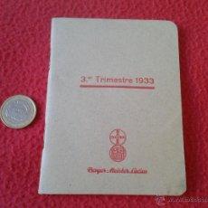 Libros antiguos: PEQUEÑA Y RARA AGENDA DIETARIO LIBRETA FARMACEUTICA BAYER MEISTER LUCIUS TERCER TRIMESTRE 1933 . Lote 46630308