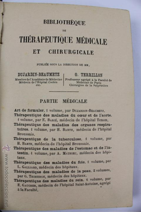 Libros antiguos: L- 1221. THÉRAPEUTIQUE DES MALADIES DU FOIE. PAR LE DR. L. GALLIARD. OCTAVE DOIN, ÉDITEUR. AÑO 1894. - Foto 3 - 46918214