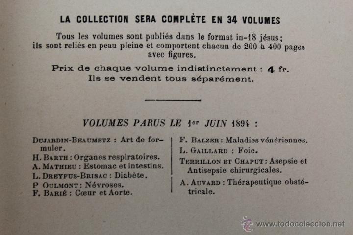 Libros antiguos: L- 1221. THÉRAPEUTIQUE DES MALADIES DU FOIE. PAR LE DR. L. GALLIARD. OCTAVE DOIN, ÉDITEUR. AÑO 1894. - Foto 4 - 46918214