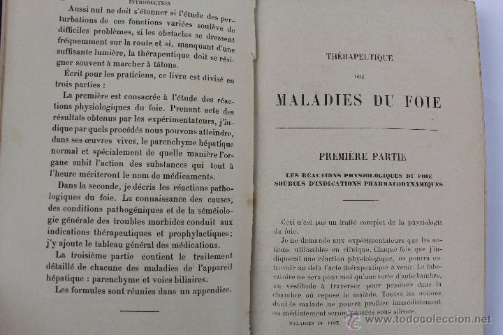 Libros antiguos: L- 1221. THÉRAPEUTIQUE DES MALADIES DU FOIE. PAR LE DR. L. GALLIARD. OCTAVE DOIN, ÉDITEUR. AÑO 1894. - Foto 6 - 46918214