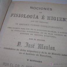 Libros antiguos: ANTIGUO LIBRO TAPAS DE PIEL.....AÑO....1.870......FISIOLOGIA E HIGIENE...CON INFINIDAD DE GRABADOS.. Lote 47104652