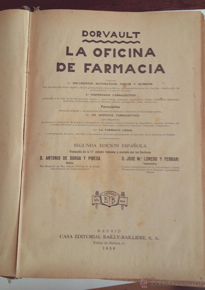 LA OFICINA DE FARMACIA DORVAULT 1930 (Libros Antiguos, Raros y Curiosos - Ciencias, Manuales y Oficios - Medicina, Farmacia y Salud)