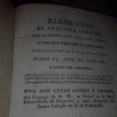 Libros antiguos: ELEMENTOS DE PRACTICA FORENSE. Lote 47794404