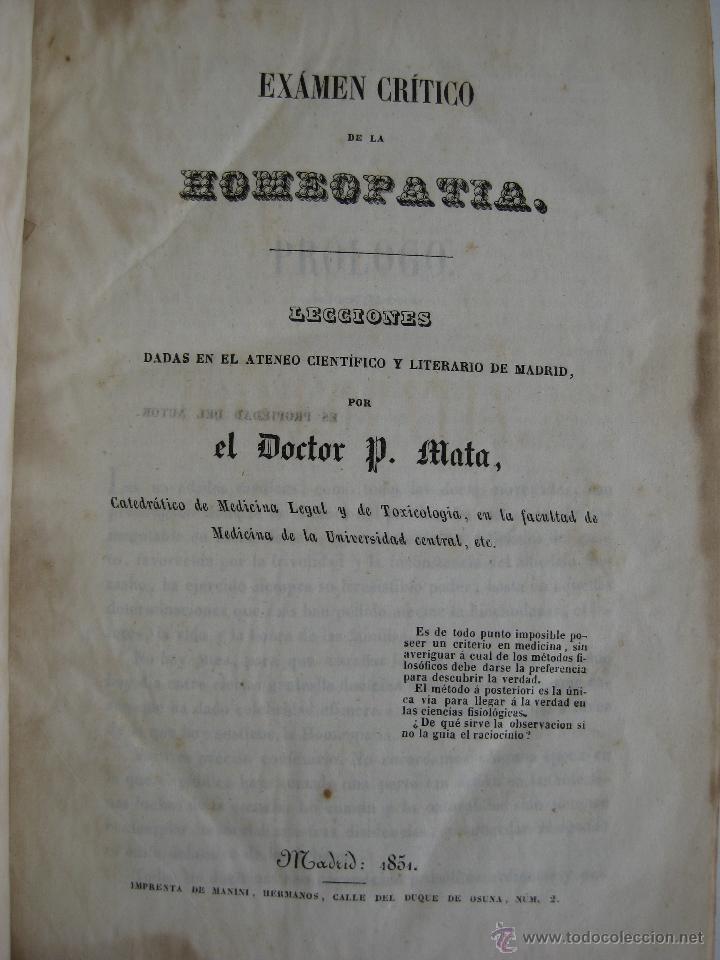 Libros antiguos: IMPOSIBLE LIBRO ANTIGUO 1851 MEDICINA HOMEOPATICA EXAMEN DE LA HOMEOPATIA POR DOCTOR MATA MADRID - Foto 5 - 48189457