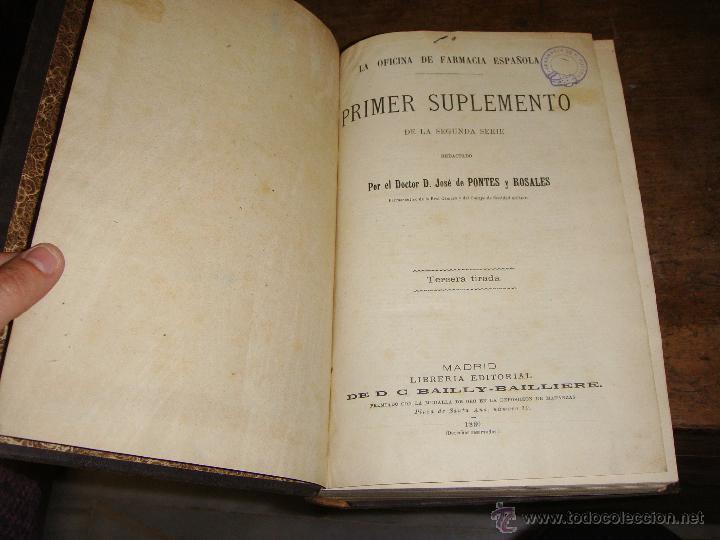 Libros antiguos: La Oficina de Farmacia Española. Dorvault. 1880. 8 Volúmenes. Completa. - Foto 3 - 48513923
