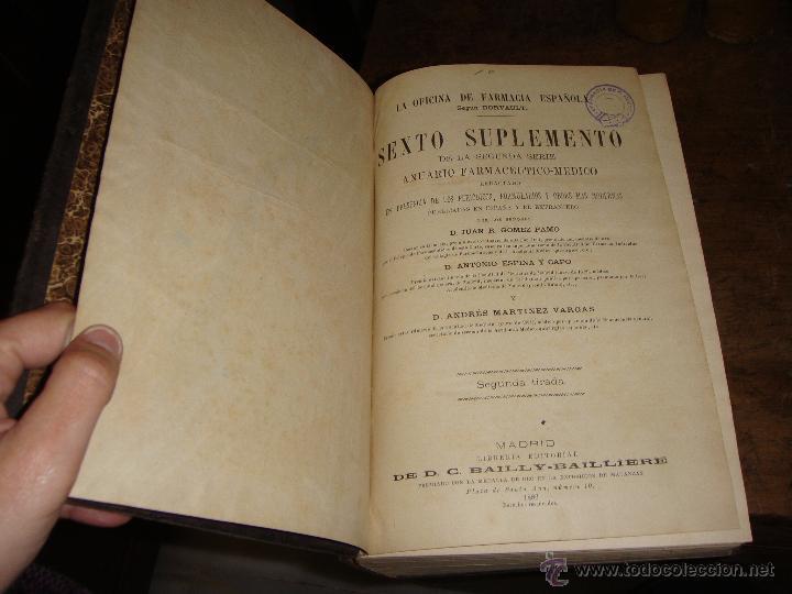 Libros antiguos: La Oficina de Farmacia Española. Dorvault. 1880. 8 Volúmenes. Completa. - Foto 5 - 48513923