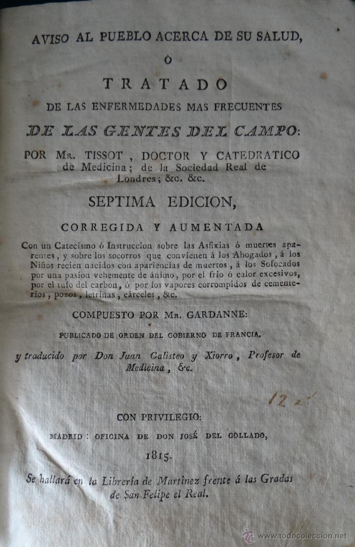Libros antiguos: TRATADO DE ENFERMEDADES DE LAS GENTES DEL CAMPO POR MR. TISSOT - MADRID 1815 - MEDICINA. - Foto 10 - 27187779