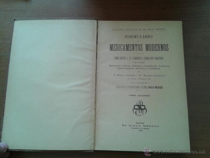 Libros antiguos: FORMULARIO DE MEDICAMENTOS MODERNOS TOMO SEGUNDO 1900 UNAS 500 PAGINAS - Foto 2 - 50106828