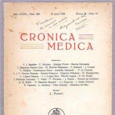 Libros antiguos: CRÓNICA MÉDICA. AÑO XXXIX. Nº 820. 15 JULIO 1935. EPOCA III. - Nº91. 23,6 X 16,6 CM.. Lote 50346222