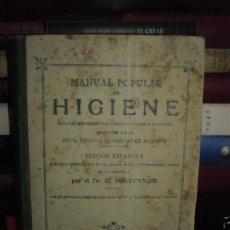 Libros antiguos: MANUAL POPULAR DE HIGIENE.1894. Lote 51200158