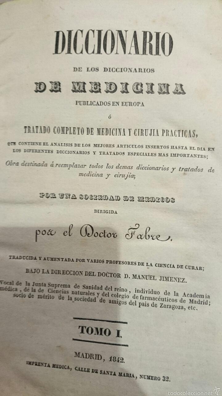 Libros antiguos: DICCIONARIO DE LOS DICCIONARIOS DE MEDICINA, DOCTOR FABRE, 1842, 1ºEDICION, TOMO I - Foto 2 - 52805550