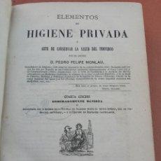 Libros antiguos: ELEMENTOS DE HIGIENE PRIVADA O ARTE DE CONSERVAR LA SALUD DEL INDIVIDUO. CUARTA EDICIÓN 1870. Lote 52819448