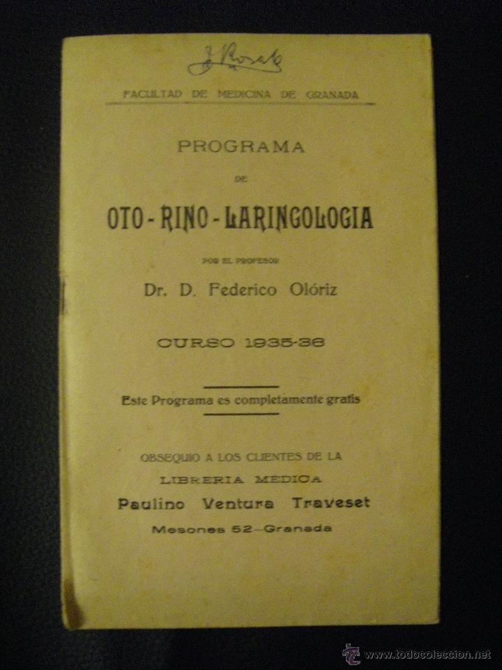 PROGRAMA DE OTO-RINO-LARINGOLOGÍA. FACULTAD DE MEDICINA DE GRANADA. 1935-1936 (Libros Antiguos, Raros y Curiosos - Ciencias, Manuales y Oficios - Medicina, Farmacia y Salud)