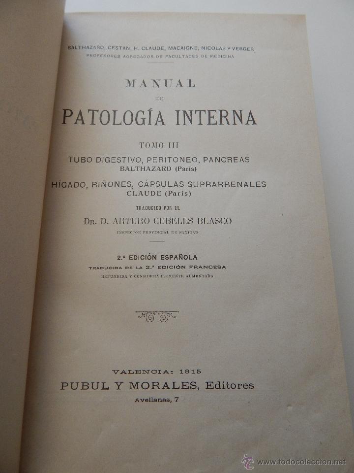 Libros antiguos: Manual de Patología Interna. Tomo III - Dr. D. Arturo Cubells Blasco (traductor), 1915 - Foto 4 - 52990415