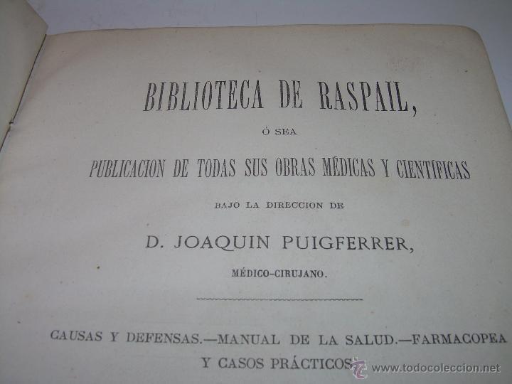 Libros antiguos: BIBLIOTECA RASPAIL..MEDICINA - FARMACIA....FARMACOPEA Y CASOS MEDICO QUIRURGICOS...AÑO 1.876 - 1.877 - Foto 4 - 53665964