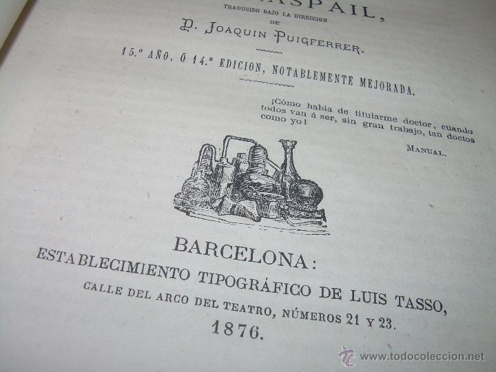 Libros antiguos: BIBLIOTECA RASPAIL..MEDICINA - FARMACIA....FARMACOPEA Y CASOS MEDICO QUIRURGICOS...AÑO 1.876 - 1.877 - Foto 7 - 53665964