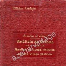 Libros antiguos: ANÁLISIS DE ORINAS CON UN APÉNDICE DE ANÁLISIS DE...DR. SÁNCHEZ DE LA RIVERA, 1915. 1ª ED. Lote 53671340
