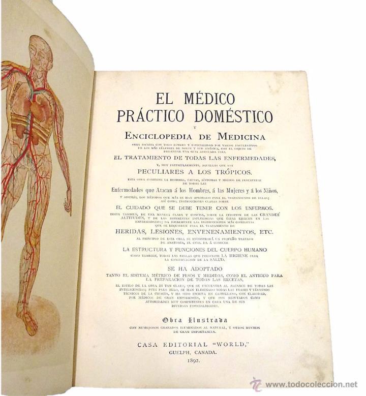 Libros antiguos: EL MEDICO PRACTICO Y DOMESTICO ENCICLOPEDIA DE MEDICINA,ENFERMEDADES DE LOS TROPICOS- AÑO 1.892 - Foto 3 - 53698021