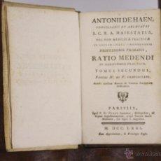 Libros antiguos: 5822 - RATIO MEDENDI. ANTONII DE HAEN. IMP.DIDOT JUNIOREM.1771.. Lote 48645268