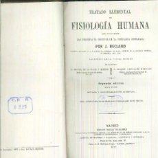 Libros antiguos: TRATADO ELEMENTAL DE FISIOLOGÍA HUMANA. J. BECLARD. Lote 54949766