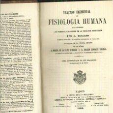 Libros antiguos: TRATADO ELEMENTAL DE FISIOLOGÍA HUMANA. J. BECLARD. Lote 55709212
