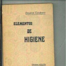 Libros antiguos: ELEMENTOS DE HIGIENE. ORESTES CENDRERO. Lote 55731873